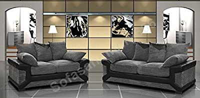 Dino Black & Grey Fabric Jumbo Cord Sofa Settee Couch 3+2 Seater SUPERB VALUE