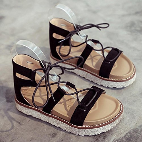Sommer Sandalen Frauen kreuzen Riemchensandalen dicke Kruste Muffin offene Sandalen Schuhe der Frauen flache Sandalen Black
