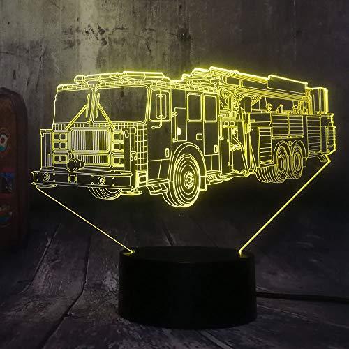 Kühle Feuerwehrauto Auto 3D Led 7 Farbe Taschenlampe Nachtlicht Schlafzimmer Schreibtischlampe Wohnkultur Kind Kind Weihnachten Halloween Spielzeug Geschenk