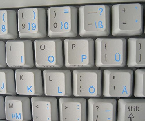 Qwerty Keys Deutsch transparente Tastaturaufkleber mit Blauen Buchstaben - Geeignet für Jede Tastatur