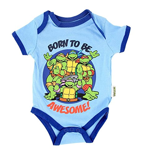Teenage Mutant Ninja Turtles Born Awesome Blue Baby Onesie Romper (0-3 Months) (Blue Turtle Ninja)