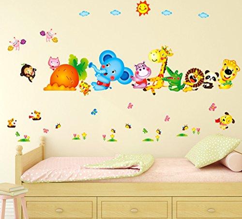 Decals Design 'Happy Cute Elephant Monkey Cartoon Animals' Wall Sticker (PVC Vinyl,...