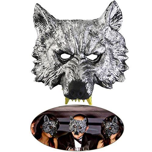 Pixnor Kopf-Maske für Cosplay Wolf Halloween grau zu (Wolf Maske)