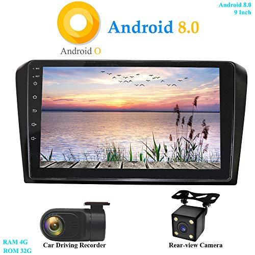 XISEDO Android 8.0 Autoradio 2 Din 9 Zoll Car Radio In-Dash RAM 4G ROM 32G Autonavigation Car Radio für Mazda 3 (2004-2009) Unterstützt Lenkradkontrolle, RDS, WiFi (mit Rückfahrkamera und DVR) (Mazda 3 2007-radio)