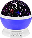 IREALIST Starry Night Light Lamp Romantic Rotating Star Projector Lamp for Christmas, Rotation Night Projection for Children Kids Bedroom (Purple)