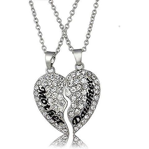 rosimall due in uno Gentle Handmade cristallo incisione collana con ciondolo a forma di cuore (Madri Cuore Collana)