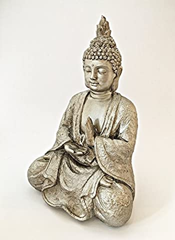 Sitzender Buddha für den Innenbereich in bronze-goldener Robe, dekorative Statue als mediativer Ruhepunkt im Raum, stilvolle Deko-Figur mit 25 cm Höhe