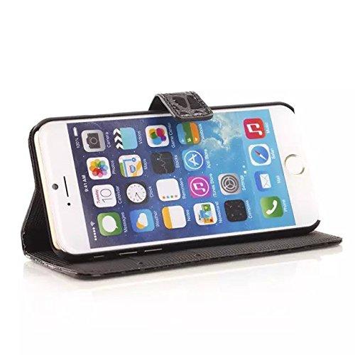 iPhone Case Cover Crocodile motif solide couleur PU Housse en cuir pour iphone 6 6s Plus ( Color : Black , Size : Iphone6 6s Plus ) Black