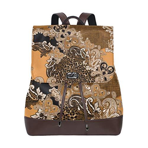 MIGAGA Piel de Leopardo sin Fisuras patrón Barroco Textil,Mochila de Cuero de PU Mochila de Colegio Colegio Mochila de Estudiantes Viajes de Viaje Bolsas de Camping