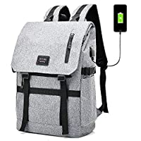 LATIT Laptop Backpack, Travel Computer Rucksack with USB Charging Port for 15.6 Inch Laptop, Waterproof Sports Trekking Backpack 25L-40L School Daypack for Teenagers Women and Men- Grey