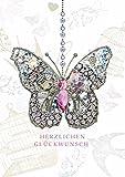 Geburtstag Karte Swarovski Elements Grußkarte Schmetterling 17x12cm