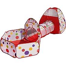 Truedays 3 Partes Carpa para Niños Tienda de Campaña Pop Up Casa de Juego Tiendas de Juegos para Niños con Túnel con Cuadro de Baloncesto Plegable