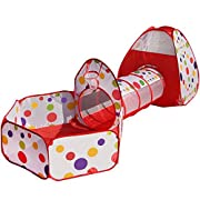 Colore: rosso con puntina colorata polkaPeso: 1,5kgSacchetto di immagazzinaggio con cerniera Formato: (50* 65cm)Dimensione piscina palla: 120* 101 * 78cm (L * W * H)Dimensione del tenda: 83 * 83 * 100cm (L * W * H)Dimensione del tunnel: 48 * ...