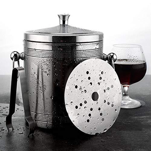 IC&EO Edelstahl Eiseimer,Party Doppelstöckiger Isolierter Champagner Getränke Eimer Wein Kühler Kühler Mit Deckel Zange Filter-1.4l 14x18cm(6x7inch) -
