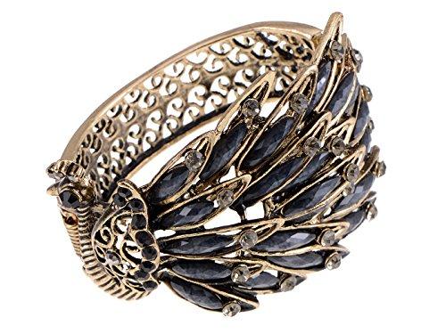 Alilang Frauen Antik vintage Retro Gold Gumetal Bronze Türkis Schwartz Kristall Strass Pfau Armband Armreif Irische Armbänder Für Frauen