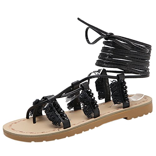 Oasap Women's Beading Cross Lace up Flat Gladiator Sandals Black