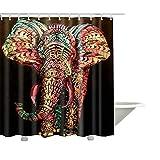 QEES Duschvorhang aus Stoff Wasserdichter Duschvorhang mit verstärktem Saum Anti-Schimmel Textilien Wasserabweisend Dusche Vorhang Verschiedene BIlder zu wählen YLB01 (L, Elefant 3)