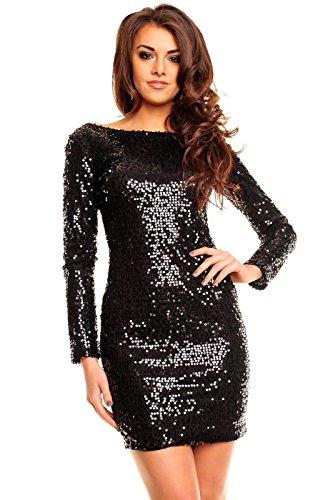 Paillettenkleid rückenfrei Cocktailkleid Abendkleid mit Pailletten bestickt schwarz XL