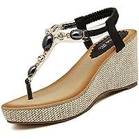 Minetom Donne Ragazze Stile Casual Zeppa Infradito strass decorazione estate scarpe