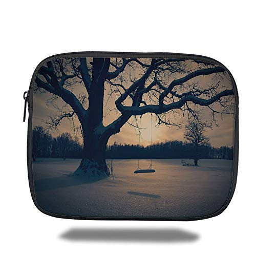 Tablet Bag for Ipad air 2/3/4/mini 9.7 inch,Tree of Life,Majestic Tree in The Garden with A Swing Nostalgic Dramatic Winter Scenery Decorative,Tan Blue Grey,3D Print -