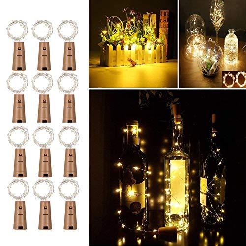 12 Stück 20 LEDs 2M Flaschen Licht Warmweiß, Flaschenlichter Lichterketten Nacht Licht Weinflasche Flaschenlicht Kork Flaschen Licht LED Lichter Flaschen für Party Dekor Weihnachten Hochzeit