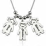 JF Encantos personalizados de los niños Madre collar de plata esterlina con tres niños, personalizados con nombres