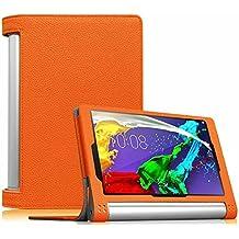 Funda Lenovo Yoga Tablet 2 8 - Fintie Folio Slim Smart Case Fund Carcasa con Stand Función y Auto-Sueño / Estela para Lenovo Yoga 2 8 8.0 pulgadas Tablet, Naranja