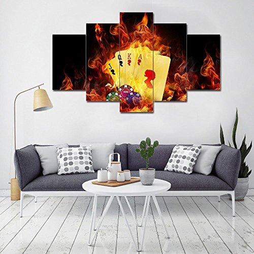 La vie 5 parti quadro su tela con immagine di poker immagini da parete pittura murale decorativa stampa artistica su tela wall art per decor casa studio ufficio hotel regalo senza cornice