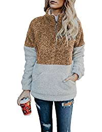 Udgwaz Damen Casual Pullover Teddy Langarm Jacke Dünne Mantel Sweatshirt  mit Reißverschluss ... dba65be0ed