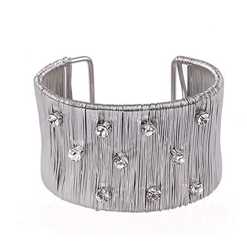 HKJCC Europa Und Die Vereinigten Staaten Linie Kunst Übertriebener Punkdiamant Offener Mund Damen Armband Armband Großhandel Breites Drahtwickelarmband,Silver