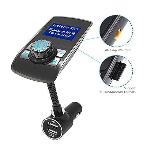 Transmetteur FM Bluetooth Émetteur Radio sans Fil avec Chargeur de Voiture USB Appel Mains Libres Lecteur Musique Kit de Voiture Transmetteur Support Carte TF/Câble Audio pour iPhone, iPad, Samsung, HTC et autres Smartphone