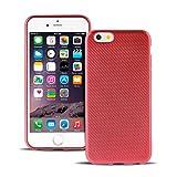 LetiStore Apple iPhone 6 / 6S Hülle - Handyhülle Aus Silikon – Carbon TPU Handy Schutz Case Bumper Backcover - Rot Carbon