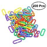 UEETEK 200 piezas DIY Plástico C-clips ganchos Enlaces de cadena C-links Parrot Bird Toys