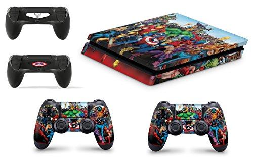 Gizmoz n Gadgetz GNG Adesivi in Vinile per PS4 Slim con Il Logo di Marvel 3 per Console E per 2X Controllers