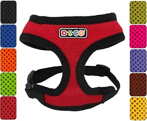 DDOXX Hundegeschirr Air Mesh | Softgeschirr | für große, mittelgroße, mittlere & Kleine Hunde | Geschirr Hund | Katze | Brustgeschirr | Zubehör | Rot, Größe B (S)