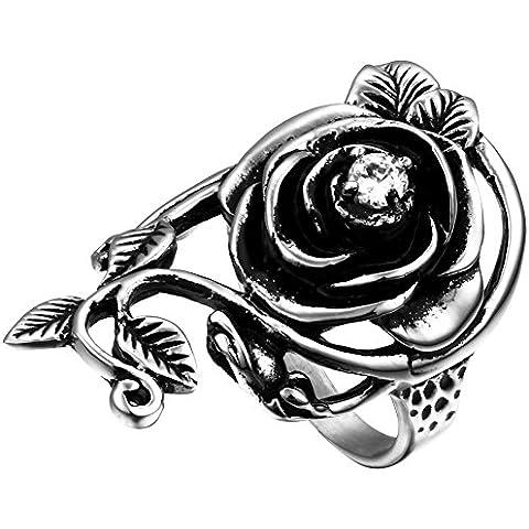 Flongo Anello Donna Uomo Classcio Rosa Fiori in Acciaio nero