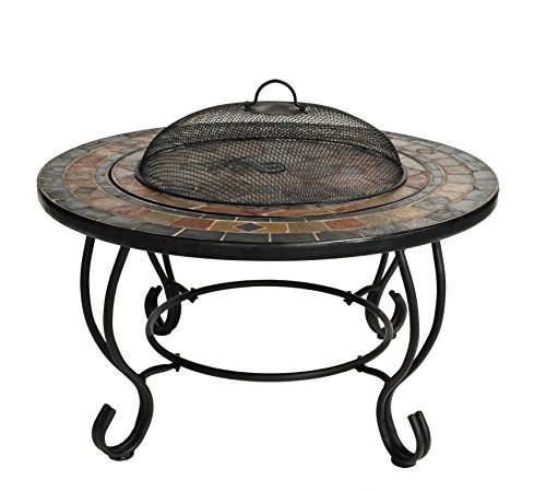 Harima Shango - 76cm 30 Inch Round Outdoor Garden Tiled Slate Coffee Table and Fire Pit Brazier with Chrome BBQ Grill Grid with Spark Guard, Mesh Lid and Rain Cover Incinerator Log Wood Burner Patio Heater
