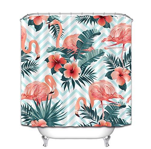 xiaodanhan Duschvorhang Kunst Design Tropische Pflanzen Flamingo Blumenvorhänge Für Bad Wasserdicht Polyester Badewanne Dekoration 180 (B) X 200 (H) cm -