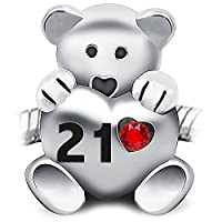 21st Birthday Teddy Bear Charm Bead holding a red heart inscribed 21 - 925 Sterling Silver - fits Pandora, Biagi & Troll bracelets