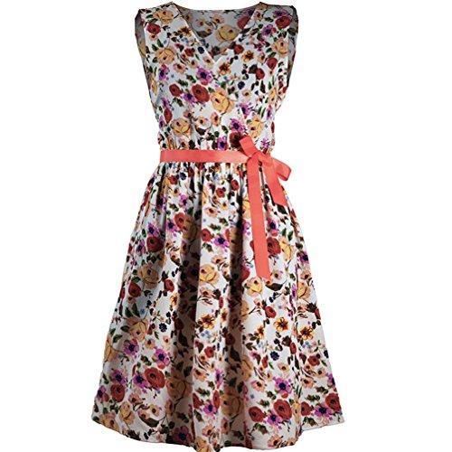 Damen Kleid, MOIKA New Mode Frauen A-Linie beiläufige Blumendruck V-Ausschnitt ärmellose Gürtel Verband Mini-Tank-Kleid(S,Orange)