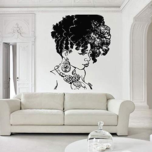zqyjhkou Afrikanische Frauen Wandtattoo Afrikanische Wilde Stolz Beasuty Salon Home Interior Design Kunst Maske Mädchen Tattoo Tanzen Haar Sl32 42x67cm