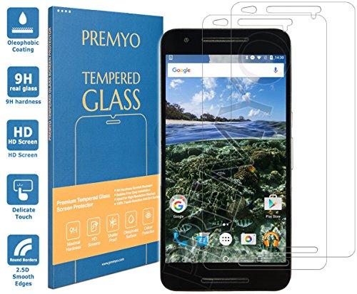 PREMYO 2 Stück Panzerglas Schutzglas Bildschirmschutzfolie Folie kompatibel für Nexus 6P Blasenfrei HD-Klar 9H 2,5D Gegen Kratzer Fingerabdrücke