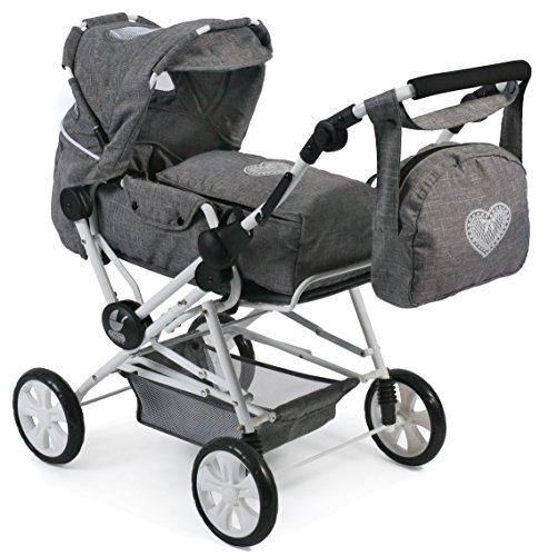 Bayer Chic 200056276Super Carrito de muñecas Roadstar para niños Grandes, Jeans, Gris