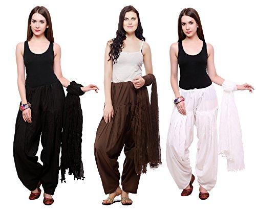 Pistaa's Women's Cotton Salwar (Milky White, Free Size)