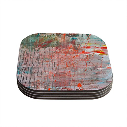 Kess InHouse Iris Lehnhardt Mots De La Terre Splatter Paint Coasters, 4 by 4-Inch, Orange/Green, Set of 4 by Kess InHouse Iris Coaster