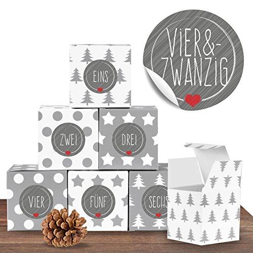 """24 weihnachtliche Adventswürfel im Set mit 24 Zahlenaufklebern """"Schick und Grau"""" für einen DIY Adventskalender zum Basteln und Befüllen"""