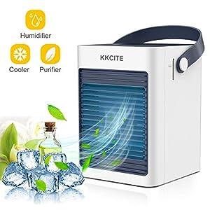 KKCITE portátil Aire Refrigerador, 3 en1 Aire Enfriador humidificador,purificador,Mini Ventilador Aire Acondicionado…