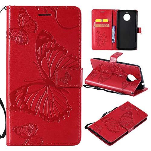Moto E4 Plus Hülle, Conber Lederhülle Handyhülle mit [Kostenlose Schutzfolie], PU Tasche Leder Flip Case Cover Emboss 3D Schmetterling Schutzhülle für Motorola Moto E4 Plus - Rot