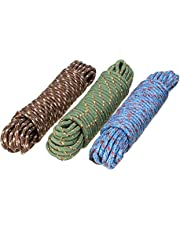 Clothes Nylon Braided Cotton Rope (20 m, Multicolour) -3 Pieces