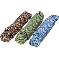 Bajrang® Clothes Nylon Braided Cotton Rope 20 Metre (03 Pieces), Multicolour.